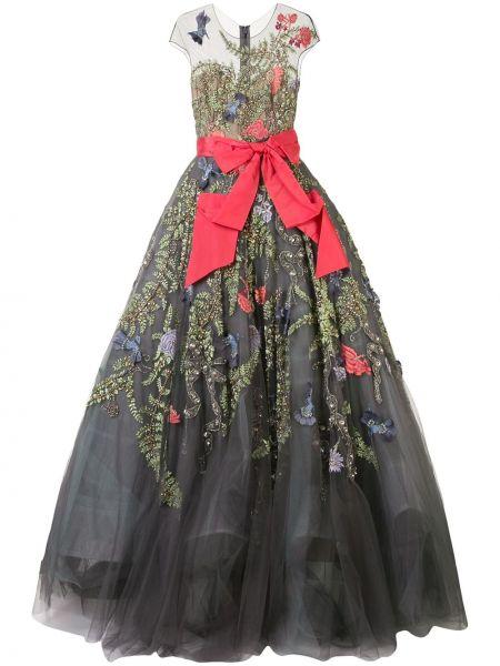 Шелковое серое с рукавами платье мини Marchesa
