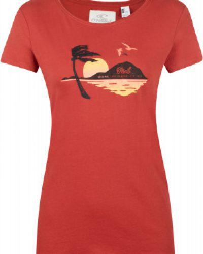 Красная хлопковая прямая футболка O`neill
