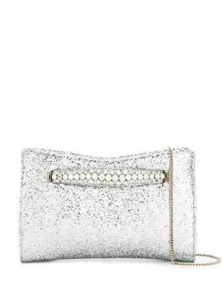 Золотистая серебряная кожаная сумка на цепочке Jimmy Choo