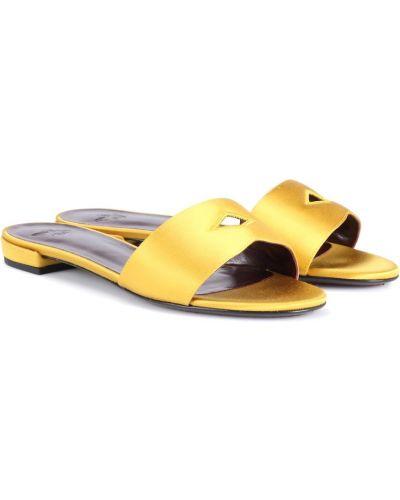 Żółte klapki skorzane Bougeotte