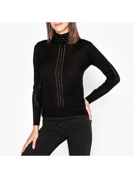 Ажурный пуловер в рубчик с воротником-стойкой Berenice
