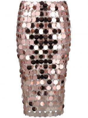 Розовая с завышенной талией юбка миди до середины колена Paco Rabanne