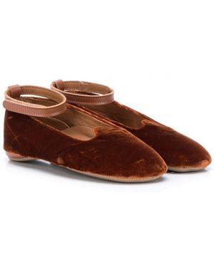 С ремешком кожаные коричневые балетки каскадные Pépé Kids