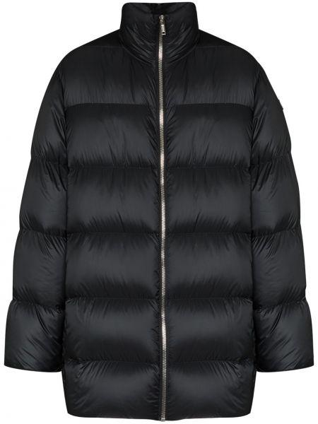 Puchaty czarny długi płaszcz z łatami z długimi rękawami Moncler + Rick Owens