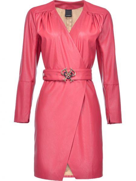 Кожаное розовое платье макси с запахом Pinko