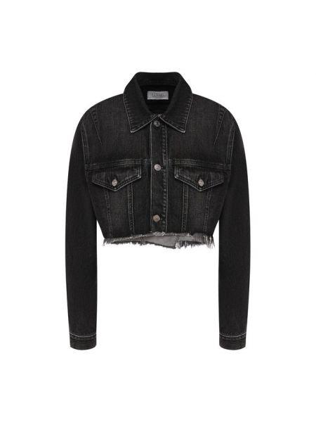 Джинсовая куртка черная с бахромой Givenchy
