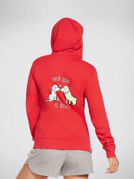 Красное худи с капюшоном свободного кроя Skechers