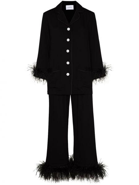 Czarna piżama z długimi rękawami rozkloszowana Sleeper