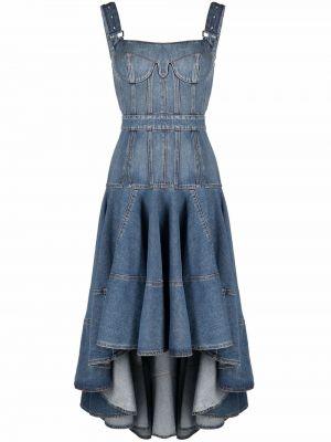 Синее джинсовое платье без рукавов с вырезом Alexander Mcqueen