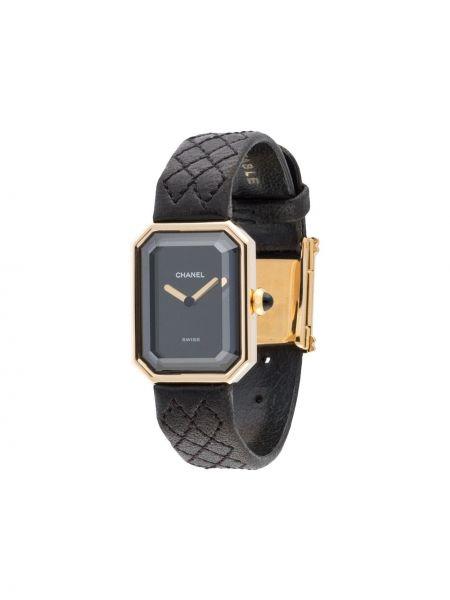 Czarny złoty zegarek na skórzanym pasku kwarc Chanel Pre-owned