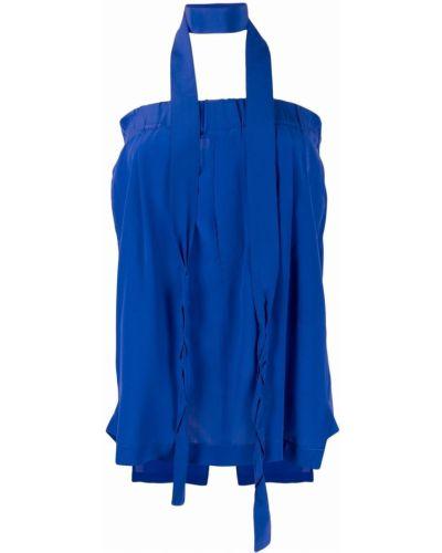 Шелковая синяя прямая юбка Jejia