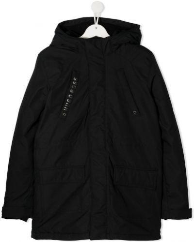 Черное пальто классическое с капюшоном с длинными рукавами Boss Kids