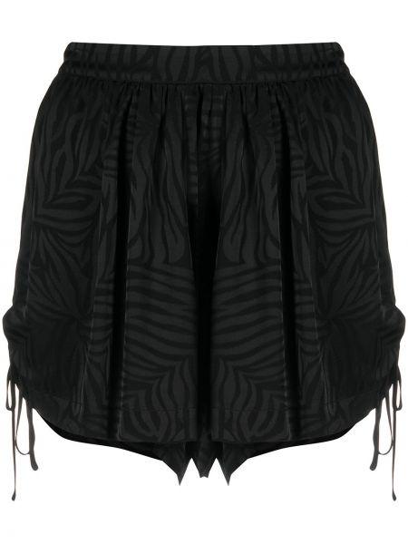 Черные с завышенной талией шорты с оборками Federica Tosi