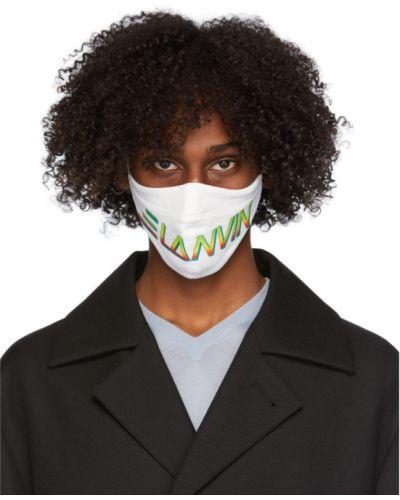 Белая текстильная с ремешком маска для лица с заплатками Lanvin