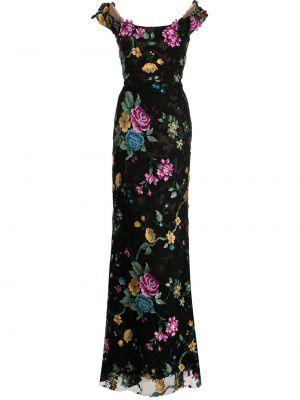 Черное платье с короткими рукавами свободного кроя Marchesa