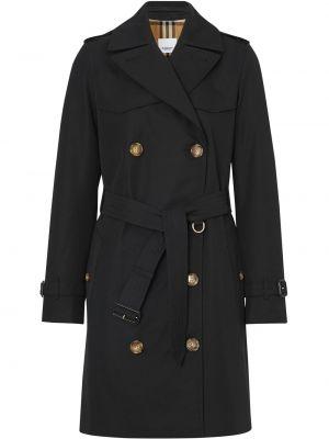 Czarny płaszcz skórzany z paskiem Burberry