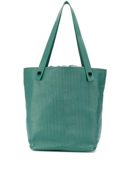 Prążkowana zielona torba na ramię skórzana Visone