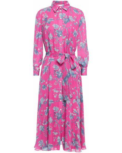 Шелковое розовое платье-рубашка с подкладкой Carolina Herrera