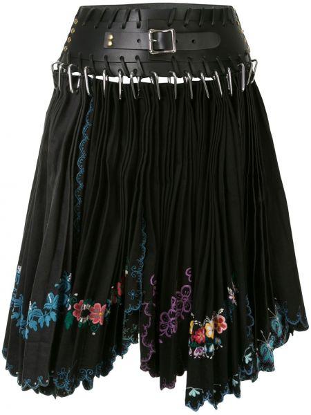 Плиссированная юбка кожаная кружевная Chopova Lowena