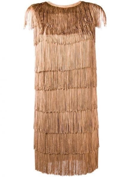 Платье мини с бахромой с рукавами Norma Kamali