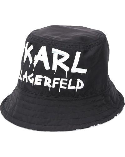 Ватная хлопковая черная шапка узкого кроя Karl Lagerfeld