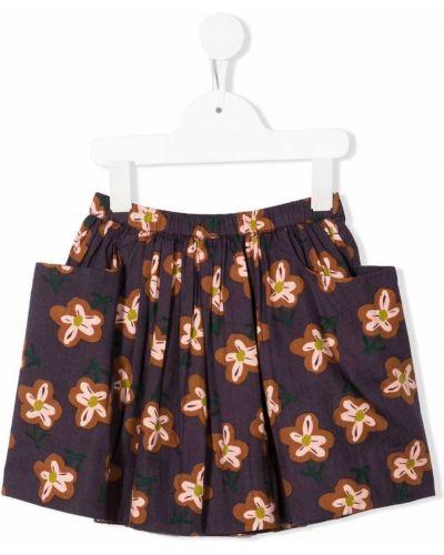 Spódnica ołówkowa w kwiaty - fioletowa Bonton