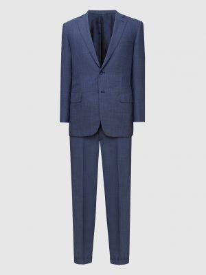 Костюмный шерстяной синий костюм Brioni