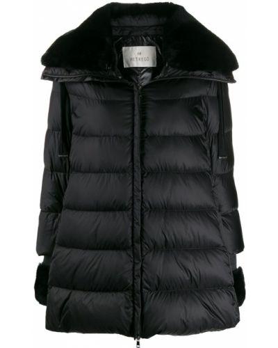 Прямая черная длинная куртка из искусственного меха Hetrego