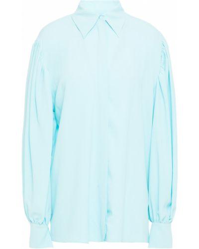 Koszula z jedwabiu turkusowa zapinane na guziki Msgm