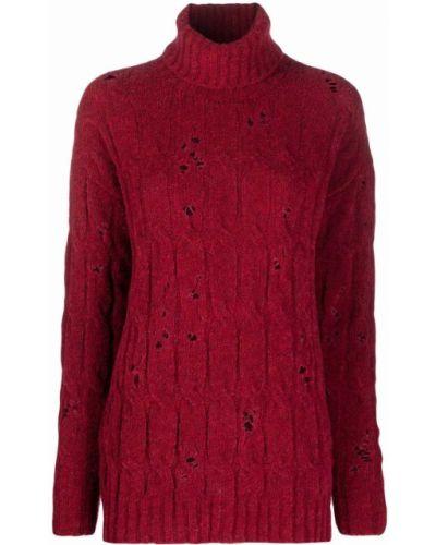 Красная шерстяная кофта Uma Wang