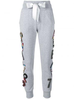 Хлопковые серые спортивные брюки с карманами Philipp Plein