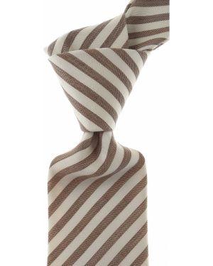 Beżowy krawat w paski z jedwabiu Borrelli