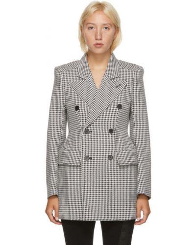 Шерстяной черный пиджак с воротником с карманами Balenciaga