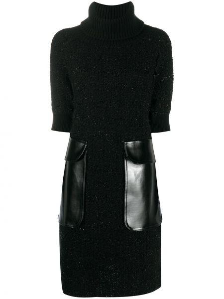 Czarna sukienka mini krótki rękaw wełniana Junya Watanabe
