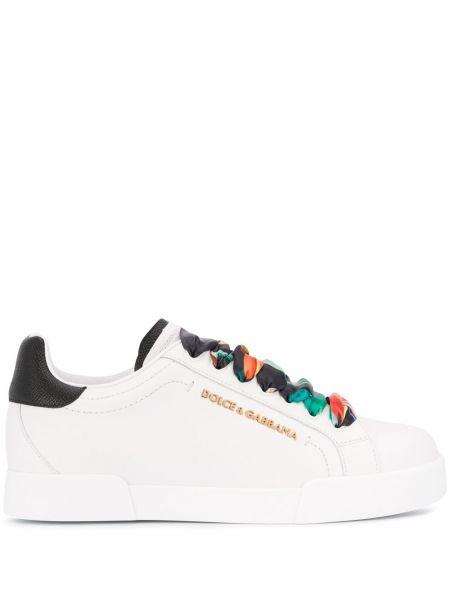 Skórzane sneakersy z logo białe Dolce And Gabbana