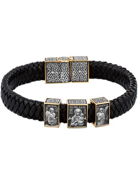 Кожаный черный браслет с подвесками позолоченный ювелия
