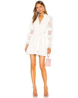 Белое гипюровое платье мини на пуговицах с подкладкой Alexis