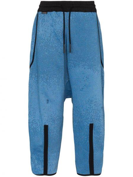 Нейлоновые синие спортивные брюки с поясом с заниженным шаговым швом Byborre