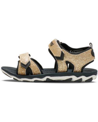 Czarne złote sandały sportowe na niskim obcasie Hummel