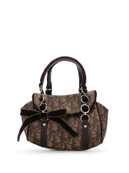 Skórzany brązowy torba kosmetyczna z kieszeniami z łatami Christian Dior