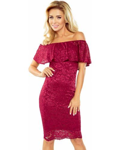 Czerwona sukienka koronkowa materiałowa Morimia