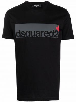Черная футболка короткая Dsquared2