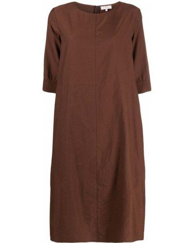 Хлопковое коричневое с рукавами платье Antonelli