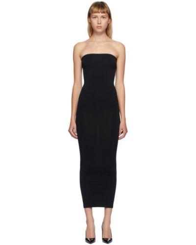 Черное нейлоновое вязаное платье макси с воротником Wolford