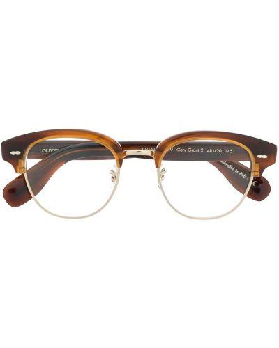 Прямые очки для зрения круглые золотые Oliver Peoples