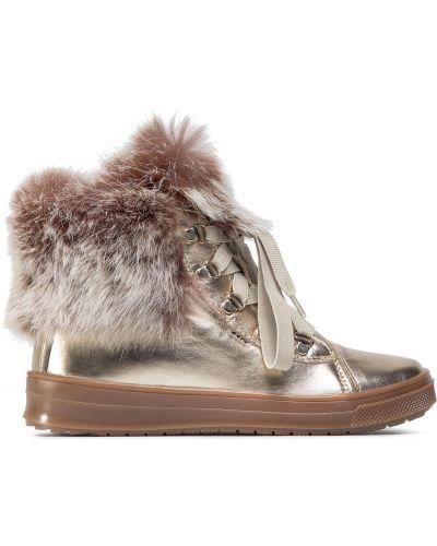 Ботинки с мехом - золотые Bartek