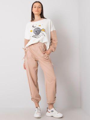 Joggery - beżowe Fashionhunters