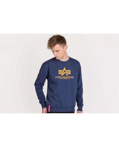 Niebieski sweter bawełniany z printem Alpha Industries