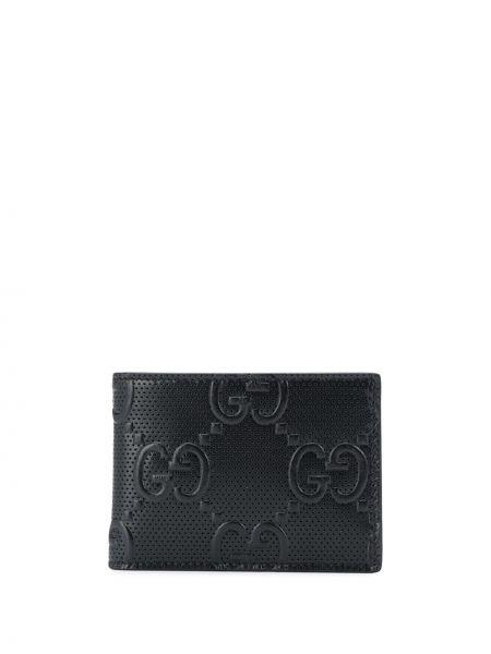 Czarny portfel z prawdziwej skóry z gniazdem wytłoczony Gucci