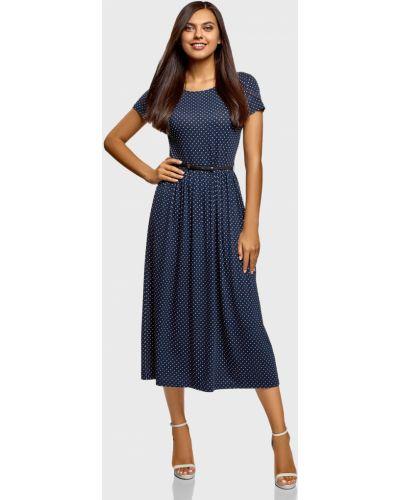 Платье в горошек - синее Oodji